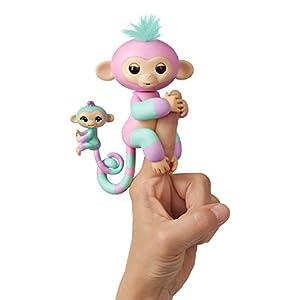 Wowwee- Ashley y Chance Mascota Interactiva Fingerling Mono + bebé monito, Color Rosa (3542)