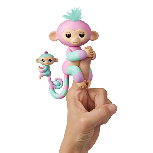WowWee Fingerlings Baby Monkey & Mini BFFs - Ashley & Chance (Pink-Turquoise) 3542