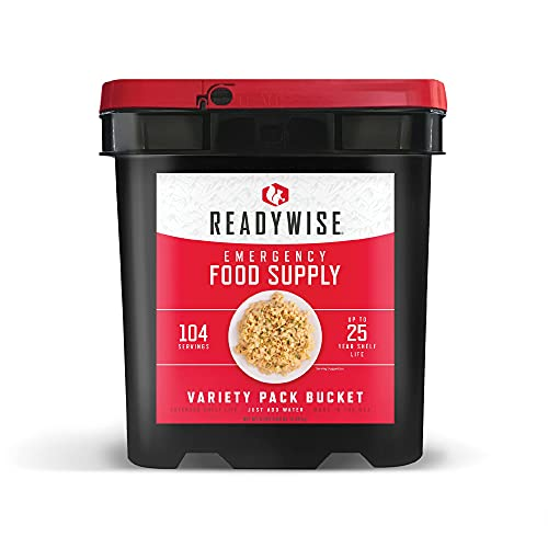 ReadyWise Emergency Food Supply, Freeze-Dried Survival-Food Disaster Kit for Hurricane Preparedness, Camping Food, Prepper Supplies, Emergency Supplies Variety Pack, 25-Year Shelf Life, 104 Servings