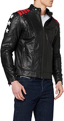 Urban Leather Chaqueta Moto Hombre en Cuero, URBAN 5884 Rising Star, Chaqueta Piel Moto con Protectores CE Extraíbles para Espalda, Hombros Y Codos, Negro, Talla 5XL (UR-456)