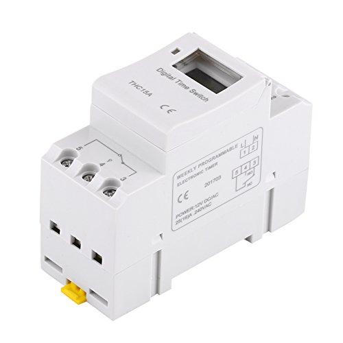 Interruptor de tiempo de relé electrónico de 16 on & 8off Temporizador programable semanal digital 1pc THC15A con chip de grado industrial(12V)