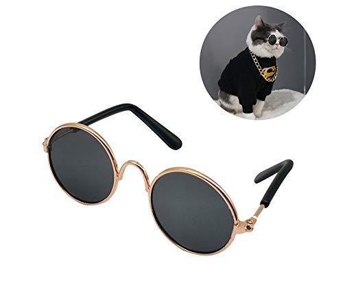 YAODHAOD Pet Dog Cat Sonnenbrille, Retro-Runde Metall Prince Princess Sonnenbrille Puppy Katie Foto Requisiten Spielzeug (2 Stück) (8CM, Schwarz)