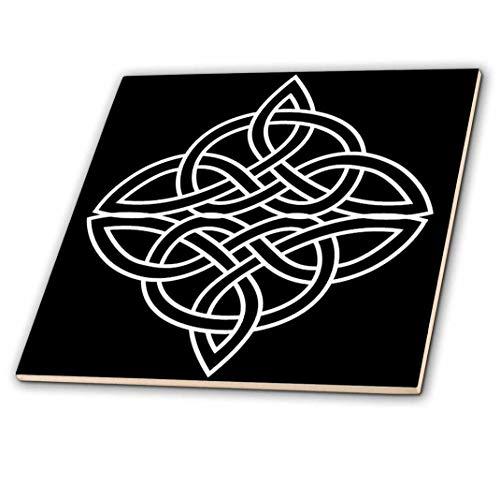 3dRose ct_44278_4 White Celtic Design on A Black Background-Ceramic Tile, 12-Inch