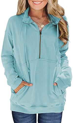 Cindeyar Damen Hoodie Herbst Winter Langarm Pullover Casual Baumwoll Zipped Kapuzenpulli Basic Outwear Kapuzenjacke Sweatshirt (Hellblau,M)