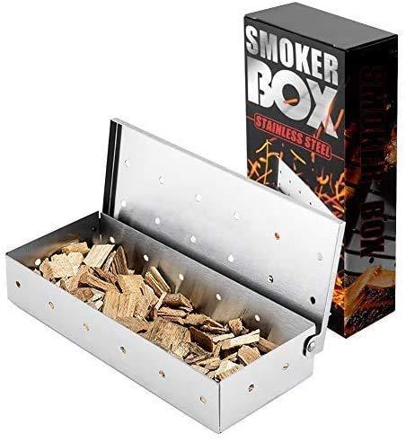CNSSKJ Scatola per affumicatore, in acciaio inox, per barbecue, affumicatore per patatine e legno, per affumicatore per carne su barbecue a gas o carbone