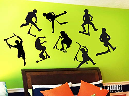 8 Stunt Scooter Stickers - Scooter Wall Decal ga251