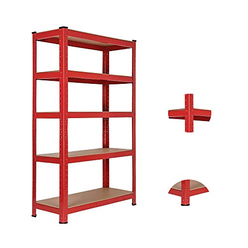 Heavy Duty Garage Shelving, Red 5 Tier Metal Shelves, Garage Shed Storage Shelving Units, 150 x 70 x 30cm, 175KG Per Shelf, 875KG Capacity