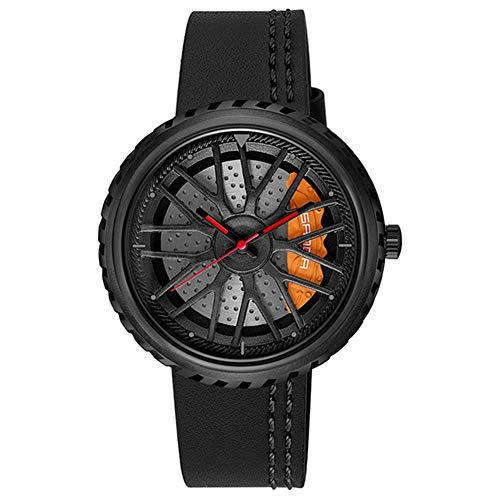 Reloj De Hombre con Correa De Rueda, Reloj Impermeable De Tendencia Hueca De Moda Reloj De Decoración Simple, Reloj De Concepto Creativo,Negro