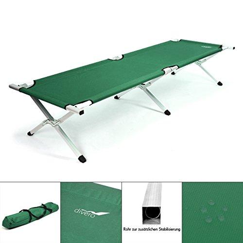 Nexos Divero Aluminium Feldbett XL dunkelgrün 210 x 74 x 42 cm Liege Gästebett Camping stabil bis 120 kg