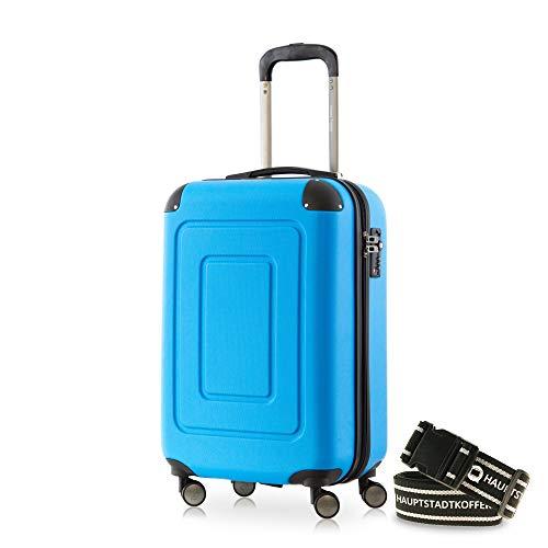 Happy Trolley - Lugano Handgepäck Kabinentrolley Bordgepäck Hartschalen-Koffer Trolley Reisekoffer, sehr leicht, TSA, 55 cm, 40L, Cyan Blau +Gepäckgurt