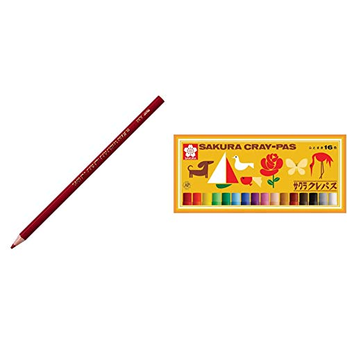 【セット買い】サクラクレパス クーピー色鉛筆 PFYバラ10P#13 赤茶 10本 & クレパス 16色 ゴムバンド付き LP16R