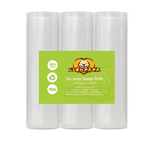 LIONPAPA Profi- Folienrollen Vakuumierrollen für alle Balken Vakuumierer BPA-frei stark reißfest kochfest Sous Vide geeignet wiederverwendbar für Folienschweißgeräte geeignet(20x500 cm 3 Rollen)