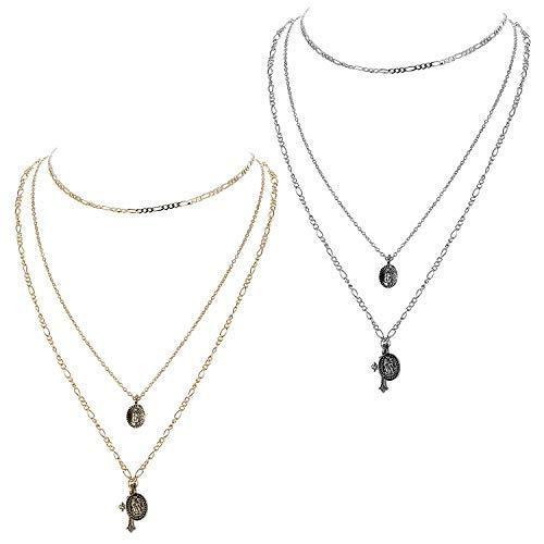 Finrezio 3 Piezas Collares Gargantilla Capas Plata y Oro para Mujeres Niñas Etiqueta Moneda Cruz Crucifijo Bendita Virgen María Colgante Collar Cadena