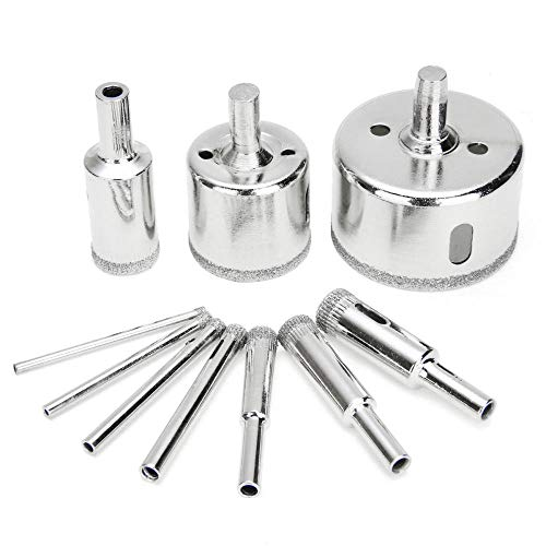 Drill Bit 10Pcs Diamond Coated Core Hole Saw Drill Bit Tool Set for Glass Ceramic Marble Tile for Power Tools