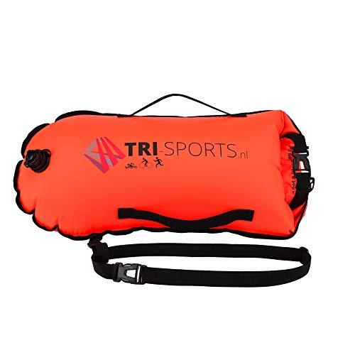 Tri-Sports-Schwimmboje für Freiwasserschwimmen. Sichtbar für Boote, sicher im Falle von Krämpfen und Sie können Ihre Ausrüstung leicht mitnehmen.