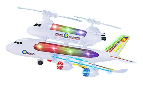 Kids Police Airplane Toy with Attached Rescue Helicopter, Flashing 4D Lights and Sounds Bump & Go Action,