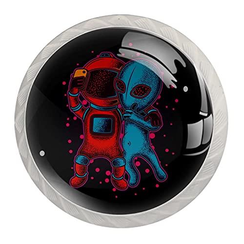 Robots and Aliens, Moderno Minimalista Impresión Armario Manija Cajón Manija Armario Manija De La Puerta Del Armario Manija De Cuatro Piezas Traje