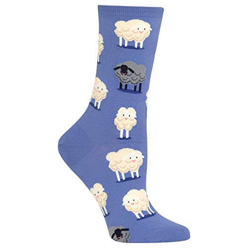 Hot Sox Women's Animal Series Novelty Casual Crew, black Sheep (Periwinkle), Shoe Size: 4-10 (Sock Size: 9-11)