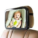 ベビーミラー 車用 赤ちゃんミラー ベビーカーバックシートミラーリアビューミラー赤ちゃんと完全に調節可能なチルトストラップを固定アンチ揺れヘッドレストを回し直面 (Color : Black, Size : 29.8×18.7cm)