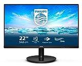 Philips 222V8LA - 22 Zoll FHD Monitor, AdaptiveSync (1920x1080, 75 Hz, VGA, HDMI, DisplayPort) schwarz