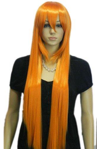Qiyun Orange Longue Raide Court Complete Frange Synthetique Cheveux Complete Costume Perruque
