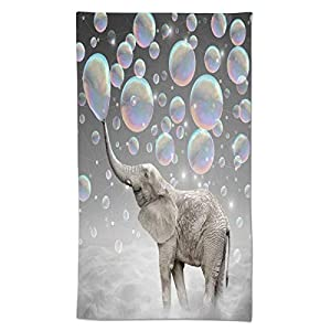 Ouqiuwa Soft Funny Elephant with Bubble Grey Pattern Oil Painting Hand Towels 27.5x15.7 in Thin Bathroom Towel, Small Bath Cloth Decor Gifts Multipurpose for Bathroom Kitchen Gym Yoga