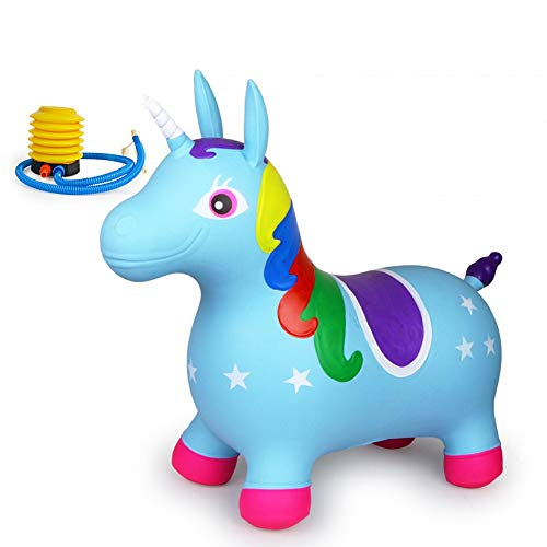 SXNYLY Rocking Horse 1-5 Year Old Baby Inflatable Vaulting Toy Unicorn Shape Anti-rollover Non-slip Thick Pony Mount Children's Birthday Gift (Color : E)