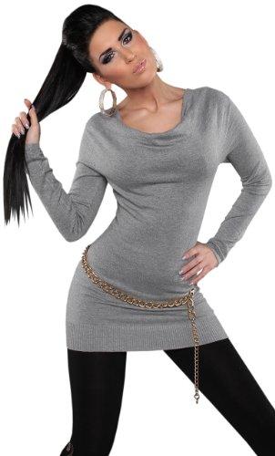 Koucla Damen Pullover mit Wasserfall-Optik Einheitsgröße (32-38), grau