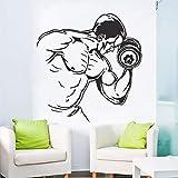mlpnko Vinyl Aufkleber Fitness Bodybuilding Mann Hantel Wandmalerei Übung inspiriert Aufkleber...