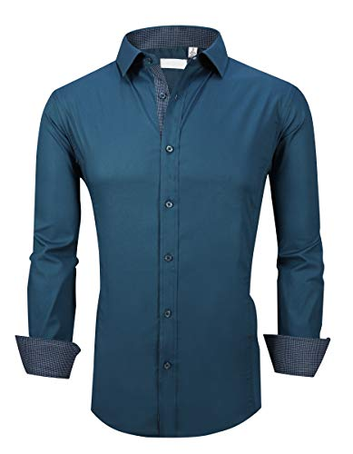 Esabel.C Men's Dress Shirts Long Sleeve Regular Fit Business Casual Button Down Shirts Teal M