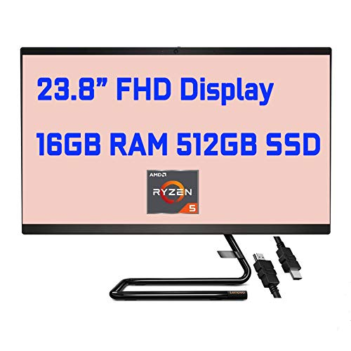"2020 Flagship Lenovo IdeaCentre AIO 3 All in One Desktop 23.8"" FHD Display AMD Hexa-Core Ryzen 5 4500U (Beat i7-8550U) 16GB RAM 512GB SSD 720P Webcam DVD-RW WiFi Bluetooth Win10 + iCarp HDMI Cable"