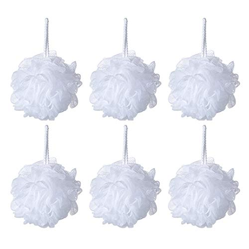 Bath Shower Sponge Pouf Loofahs White Mesh Pouf Shower Puff Pack of 6 35g/pcs