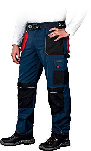 Leber&Hollman Arbeitshose für Herren - Sicherheitshose für Männer - mit Taschen für Kniepolster - Bundhose - Berufsbekleidung - Blau/Rot - Größe 56