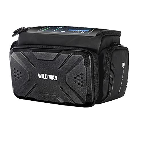 肩のストラップレインカバーが付いている自転車のハンドルバーの袋の反射ハンドルバッグのタッチスクリーンのハードシェル MTB.4.7から7インチの電話のための携帯電話のバッグ (Color : Black)