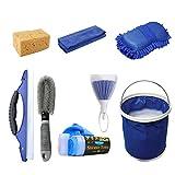 EEM 8 PCS Kit de Limpieza de Coche, Herramienta de Limpieza de Coche, Cepillo para neumáticos/Esponja/Plumero/paños de Lavado/raspador de Ventana/Toalla de Ciervo/Cubo Plegable/Guante