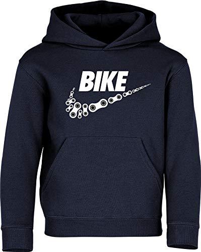 Kinder Pullover: Bike - Hoodie Kapuzenpullover Pulli Fahrrad Geschenk-e Jungen & Mädchen - Radfahrer-in Mountain Bike MTB BMX Roller Rad Outdoor Junge Kind Sport Trikot Geburtstag (Navy 140)