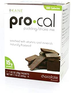 R-Kane Pro-Cal Shake High Protein Shake and Pudding Mix, Weight Loss and Natural Energy Booster, Protein Powder Meal Replacement Shake - Chocolate Flavor, 7 Packets