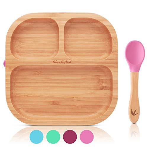 bambuskind® Kinderteller mit Saugnapf I Inkl. Rezepte-Ebook I rutschfester Babyteller aus nachhaltigem Bambus mit flexiblem Löffel I Kindergeschirr-Set zum Essen lernen