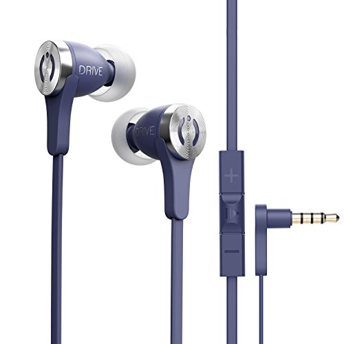 MuveAcoustics Drive Wired in-Ear Earbud Headphones - Noise Cancelling Premium Stereo Headphone Earbuds w/Mic, Ergonomic fit, Blue