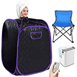Angotrade Portable Steam Sauna, Personal Therapeutic Sauna Tent Home Spa for Weight Loss Detox Relaxation Slimming,One Person Sauna with Remote Control,Foldable Chair,Timer (Black Purple)