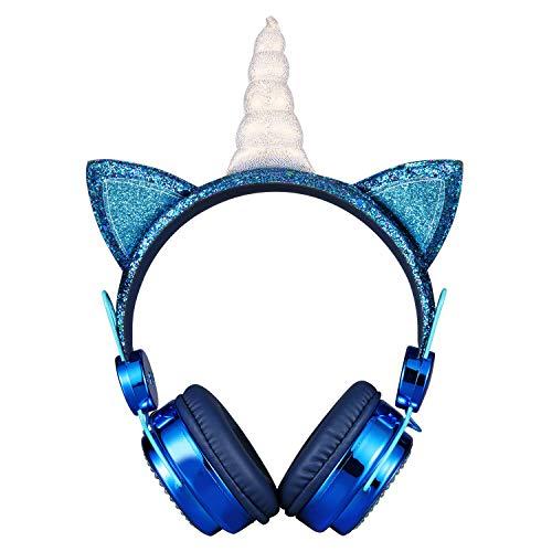 KORABA Auriculares con cable con micrófono en la oreja 85dB para niños (azul)