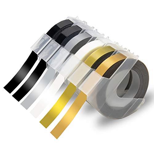 Xemax kompatibel Schriftband Ersatz für Dymo 3D Prägebändern Selbstklebend Bänder für Dymo Junior Omega 1540, Maxi 1755, Motex E-101 E-303, Schwarz/Silber/Klar/Gold/Champagner Gold, 9mm x 3m, 6-Rollen