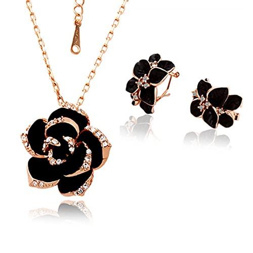 DOOLY Fashion Rose Flower Smalto Gioielli Set di Gioielli in Oro Rosa Colore Nero Pittura di Gioielli da Sposa Set per Le Donne