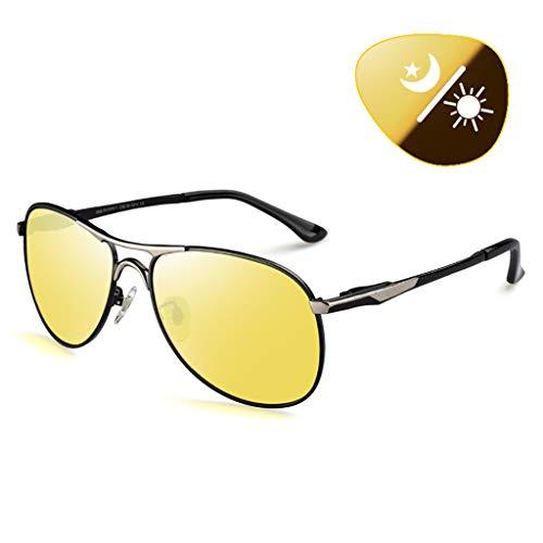 polaris occhiali Movimento Polare Occhiali da Guida Notturni Uomo Polarized HD Lenti Gialle Antiriflesso Allevia L'affaticamento degli Occhi Premium Montatura in Acciaio Inossidabile Sport All'aperto Occhiali da sol