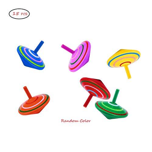 OUTEYE 15pcs Multicolor Spinning Top en Bois Jouets Main Gyro Spinning Jouets d'apprentissage pour Les garçons Filles