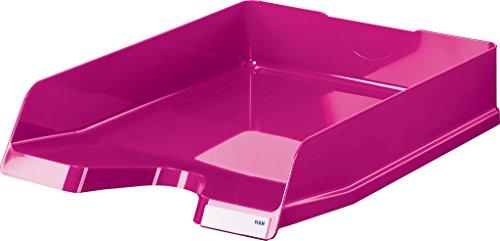 HAN 10275-96 VIVA - Vaschette portacorrispondenza, formato DIN A4/C4, impilabili, lucide, con clip, 5 pz, colore: Rosa