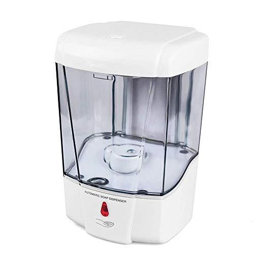 PULLEY Dispensador automático de jabón con sensor IR, dispensador de jabón de 700 ml, montaje en pared, sin contacto con bomba de loción de jabón de cocina con pilas