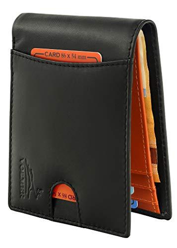 Fa.Volmer  Billetera sin Clip para Billetes, Tarjetero de Cuero con protección RFID Negro Typ #NoClip-VO20
