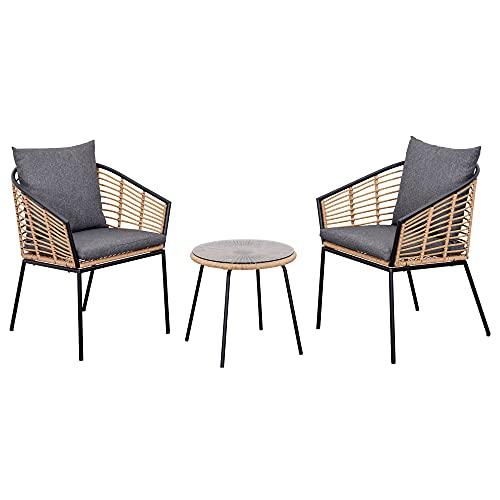 Ensemble Salon de Jardin 3 pièces Style Exotique 2 fauteuils avec Coussins Gris + Table Basse résine tressée Aspect Bambou métal époxy Noir