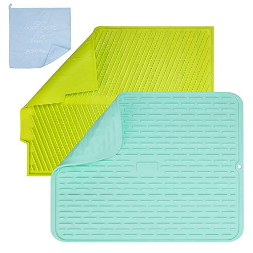 Aschef 2PCS Alfombrilla Escurreplatos Silicona para seca Platos de escurreplatos sobre fregadero Antideslizante para Encimera Cocina 43.0 x 33.0 CM, con Trapo